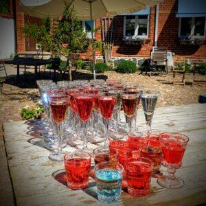 Färgglada drinkar till minglet på innergården